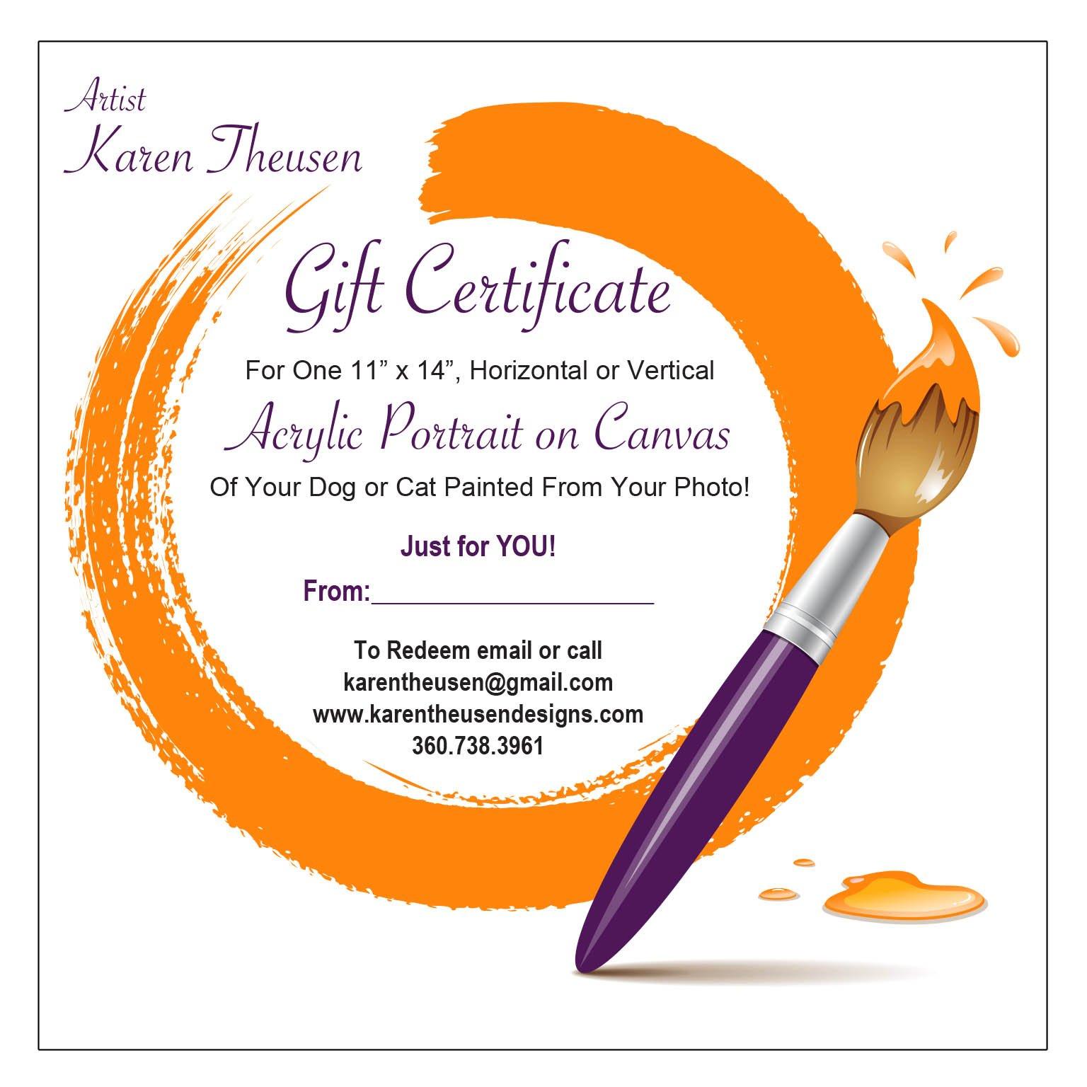 Pet Portrait Gift Certificate 11 X 14 Karen Theusen Designs